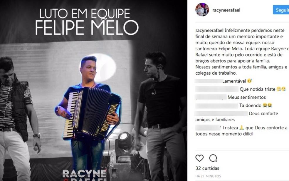 Dupla postou mensagem de luto devido a morte e Felipe: 'Muito querido' (Foto: Reprodução/Instagram)