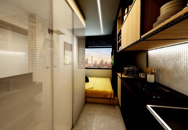 Outra visão do apartamento de 10 m² em Higienópolis, da Vitacon (Foto: Divulgação)