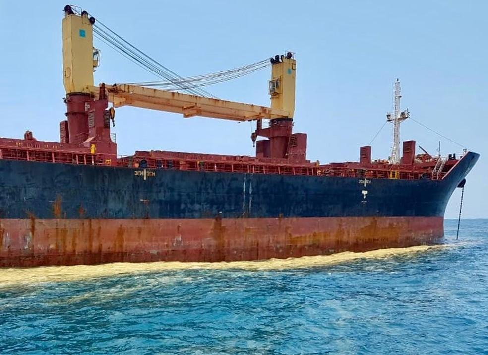 Substância ficou concentrada no entorno de navio estrangeiro que aguardava para acessar o Porto de Santos, SP — Foto: G1 Santos