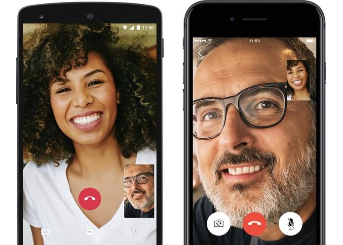 Demonstração da videochamada do WhatsApp em celulares com Android e iOS (Foto: Divulgação/WhatsApp)