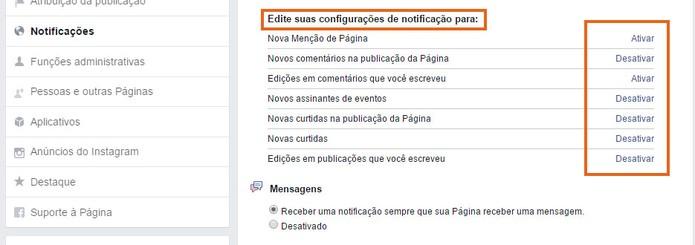 Ative ou desligue notificações de ações específicas na Página do Facebook (Foto: Reprodução/Barbara Mannara)