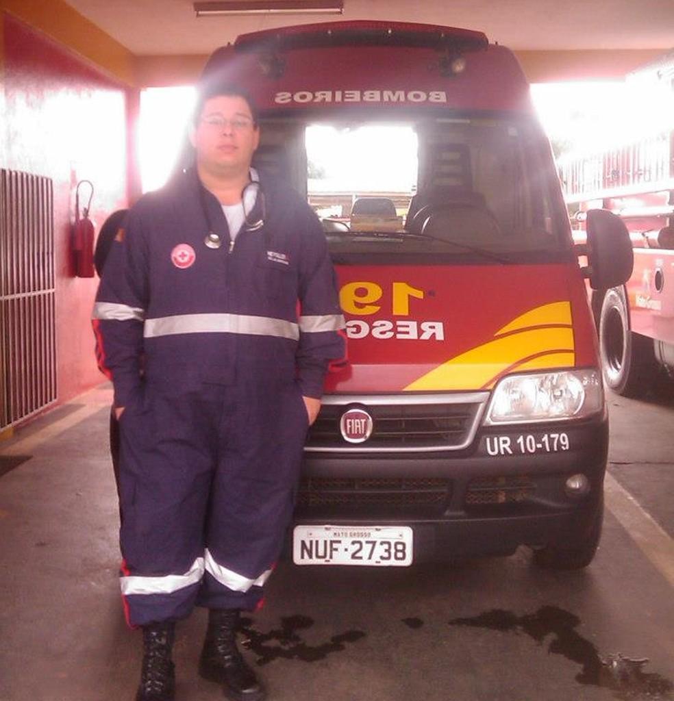 Heysller Zanini Gonçalves também foi socorrista do Corpo de Bombeiros Militar em Alta Floresta (MT) — Foto: Arquivo pessoal