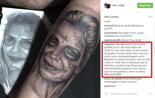 Tom Veiga, o Louro José, tatuou rosto da mulher, Alessandra Veiga, que não aprovou o resultado (Foto: Reprodução/Instagram)