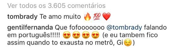 Comentários de Tom Brady e Fernanda Gentil em foto de Gisele Bündchen (Foto: Reprodução/Instagram)