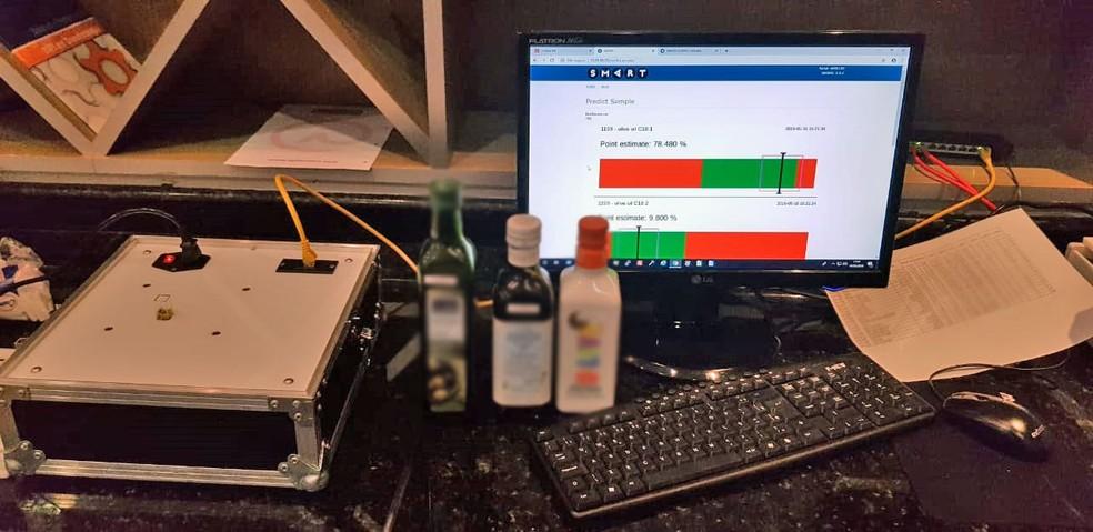 Equipamento permite análise rápida sobre os azeites que estão sendo vendidos no supermercado — Foto: Ministério da Agricultura