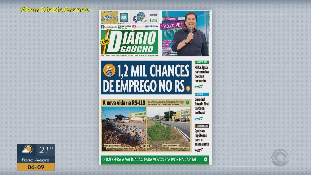 Confira as principais capas dos jornais do RS desta terça-feira (26)