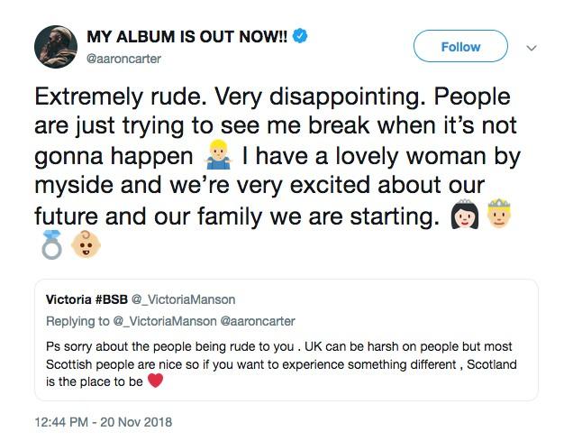 O tuíte no qual Aaron Carter falou sobre o filho esperado por ele e sua namorada (Foto: Twitter)