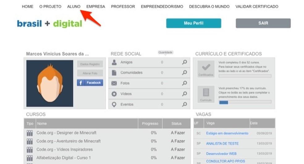 Ação para ver o andamento dos cursos e acessar os cursos inscritos no site Brasil Mais TI — Foto: Reprodução/Marvin Costa