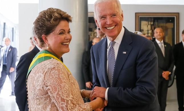 Joe Biden na posse da presidente Dilma Rousseff, em 2015