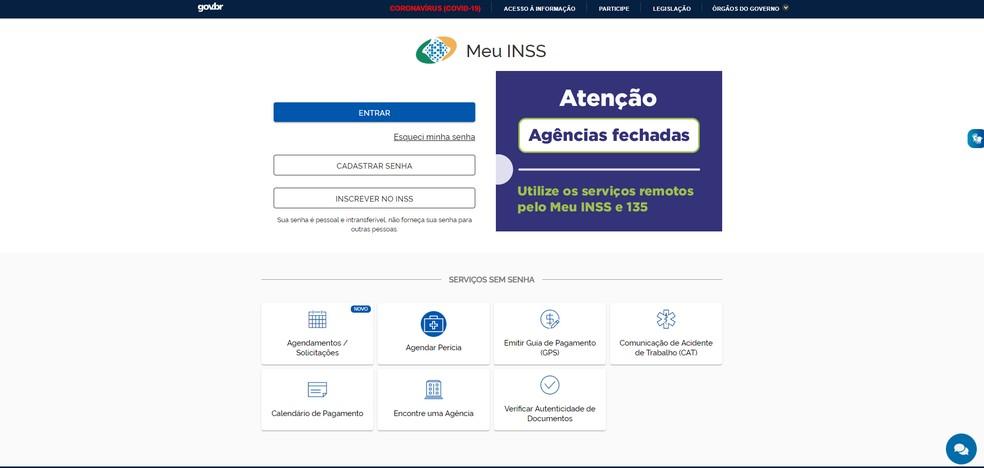 Plataforma 'MEU INSS' usada para requerer antecipação de benefícios    — Foto: INSS