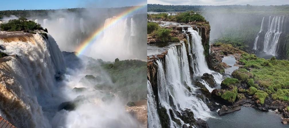 1ª foto mostra Cataratas nesta sexta-feira (21), e 2ª imagem mostra em abril, com uma das menores vazões de 2020 — Foto: Marcos Landim e Cassiano Rolim/RPC