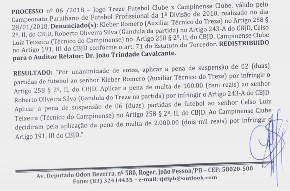 Celso Teixeira afirmou que não tinha conhecimento da punição — Foto: Reprodução / FPF