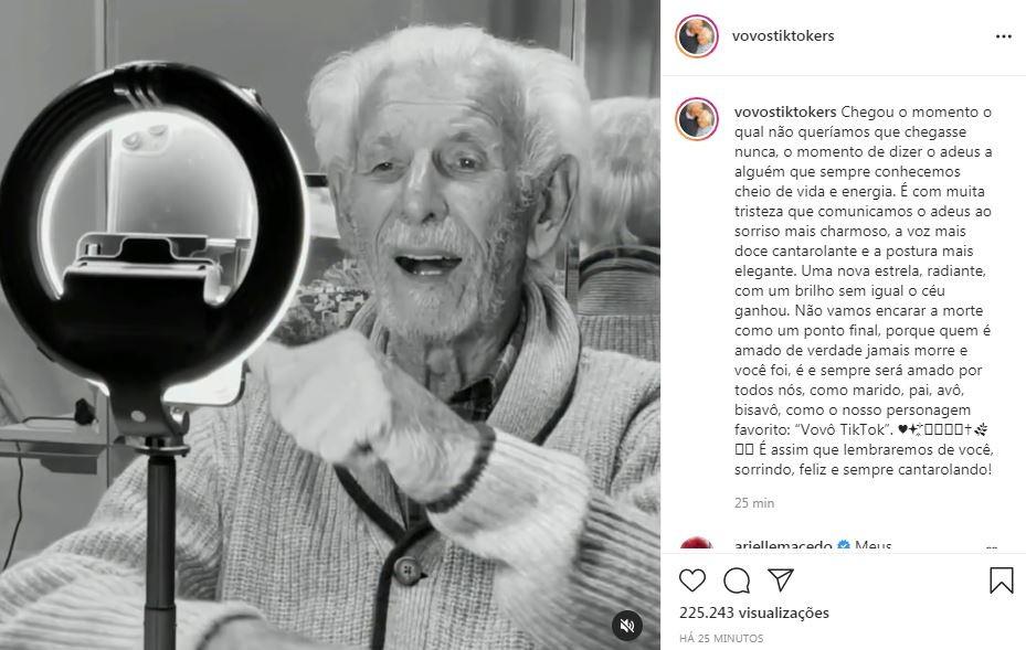 Nelson, do Vovos Tiktokers, morreu aos 90 anos (Foto: Reprodução / Instagram)