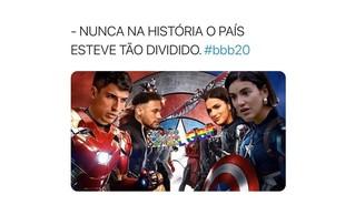 O paredão entre Felipe, Manu e Mari, no 'BBB' 20, que já bateu a marca de 550 milhões de votos, tem motivado vários memes. Os internautas brincam com a rivalidade entre os ex-namorados Bruna Marquezine e Neymar, que têm torcidas diferentes | Reprodução