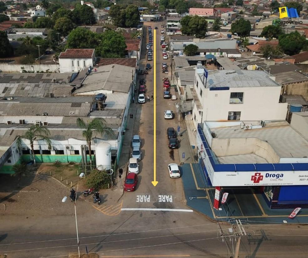Rua Netuno muda de sentido em Porto Velho— Foto: Semtran/Divulgação