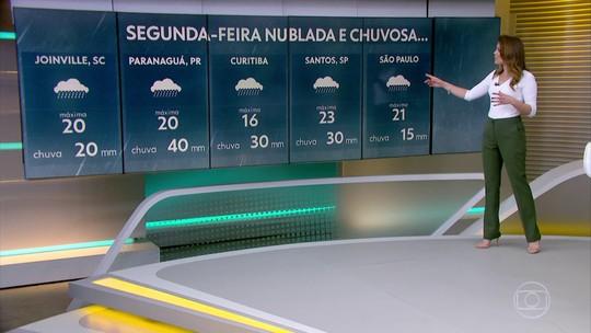 Semana começa mais fria e com chuva em parte de SP, do PR e de SC
