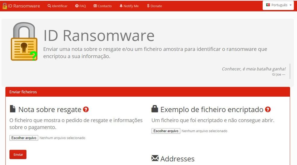 Site 'ID Ransomware' pode identificar vírus de resgate e oferecer uma ferramenta para decodificar os dados, mas nem sempre há uma solução. — Foto: Reprodução