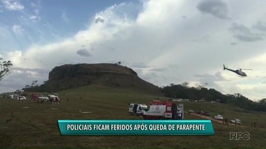 Policiais ficam feridos em acidente com parapente em Ribeirão Claro