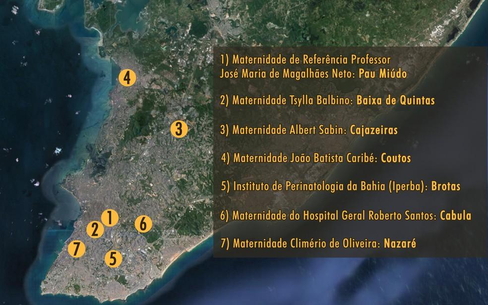 Salvador possui sete maternidades públicas (Foto: Arte/G1)