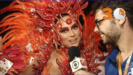 30 segundos: Thaila Ayala diz que torção no pé não atrapalha desfile na Gaviões