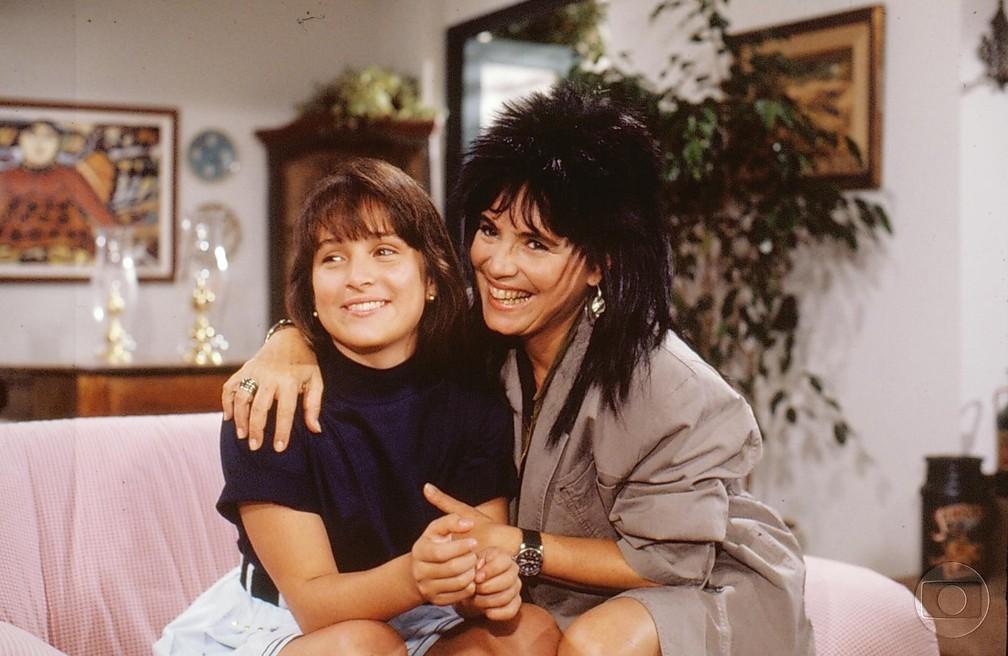 Em 'Top Model', a primeira novela de Gabriela, em 1989, Regina Duarte participou da trama como... mãe da personagem de Gabriela! (Foto: Acervo TV Globo)