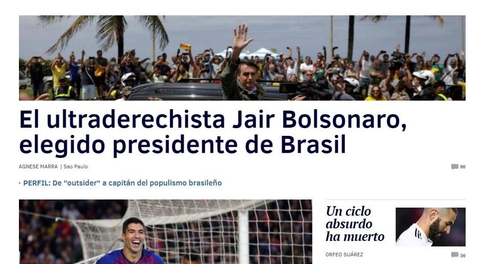 Diário 'El Mundo', da Espanha, noticiou a vitória de Bolsonaro — Foto: Reprodução/El Mundo