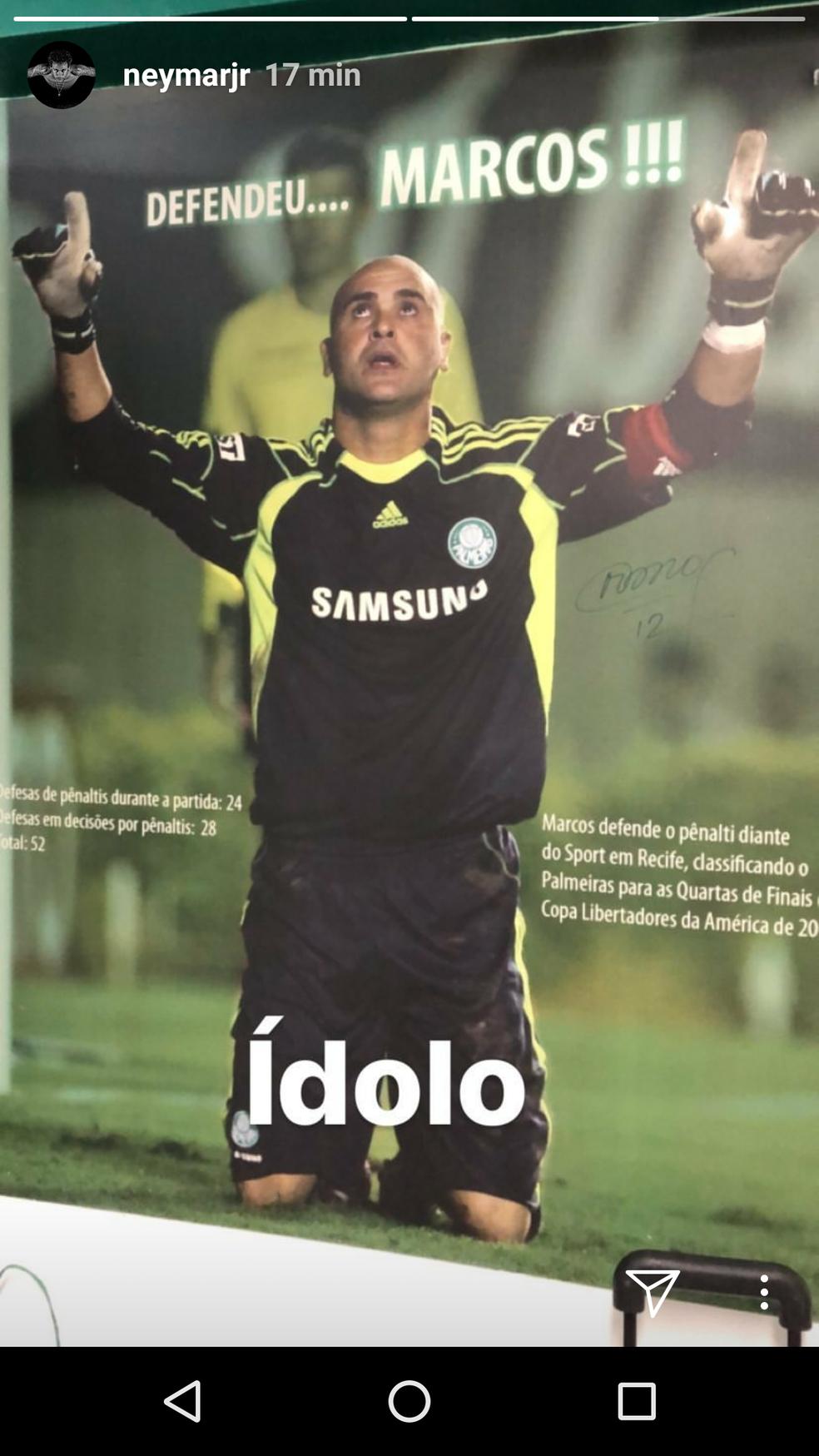 Post de Neymar no Instagram antes de treino da Seleção (Foto: Reprodução/ Instagram)