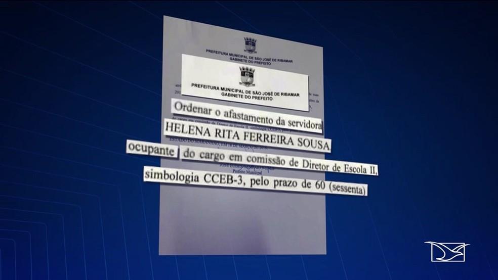 Prefeitura de São José de Ribamar afastou a diretora Helena da escola por 60 dias — Foto: Reprodução/TV Mirante