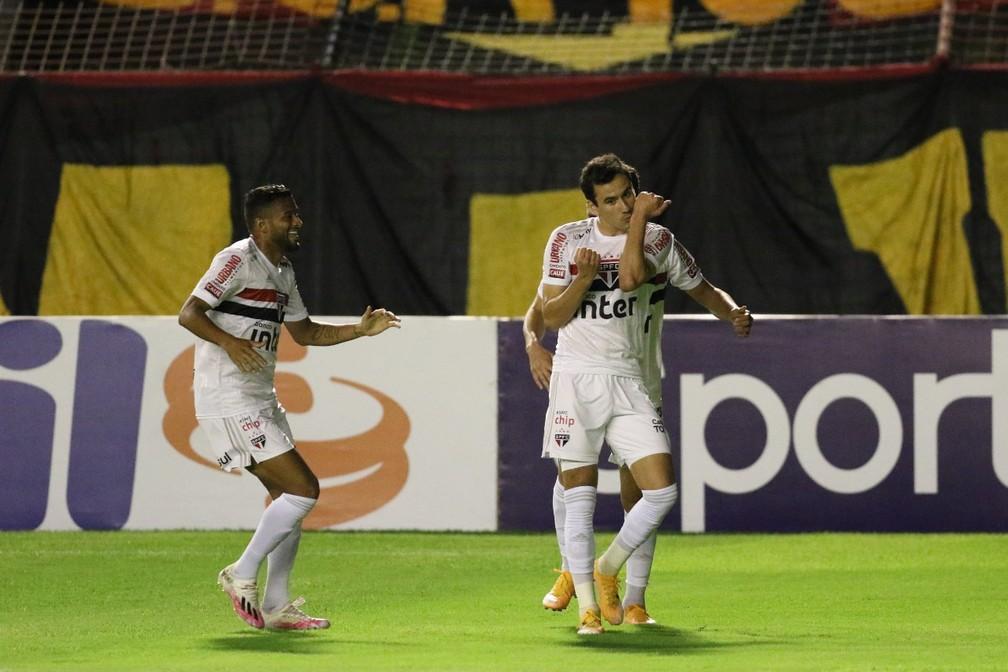 Pablo comemora gol do São Paulo contra o Sport: é o artilheiro do elenco em 2020 — Foto: Marlon Costa / Pernambuco Press