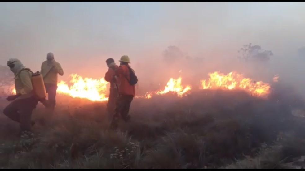 Brigadistas trabalham no combate ao fogo no Parque Estadual do Ibitipoca — Foto: Gabriel Fortes/Arquivo Pessoal