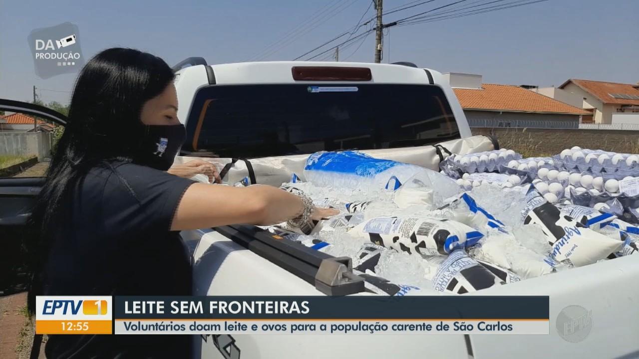 Voluntários doam leite e ovos para a população carente de São Carlos