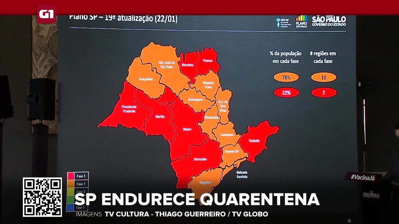 G1 em 1 Minuto: Governo de SP coloca estado na fase vermelha aos finais de semana