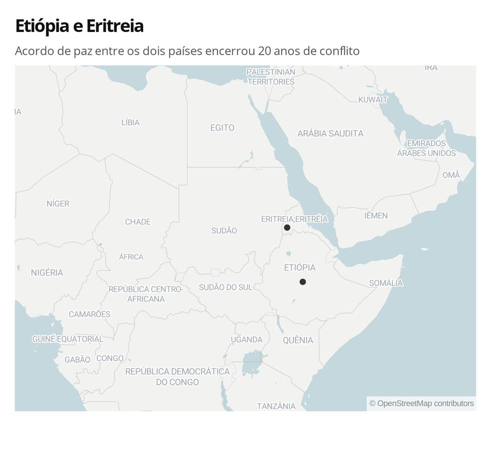 Mapa mostra Etiópia e Eritreia  — Foto: Letícia Macedo/G1