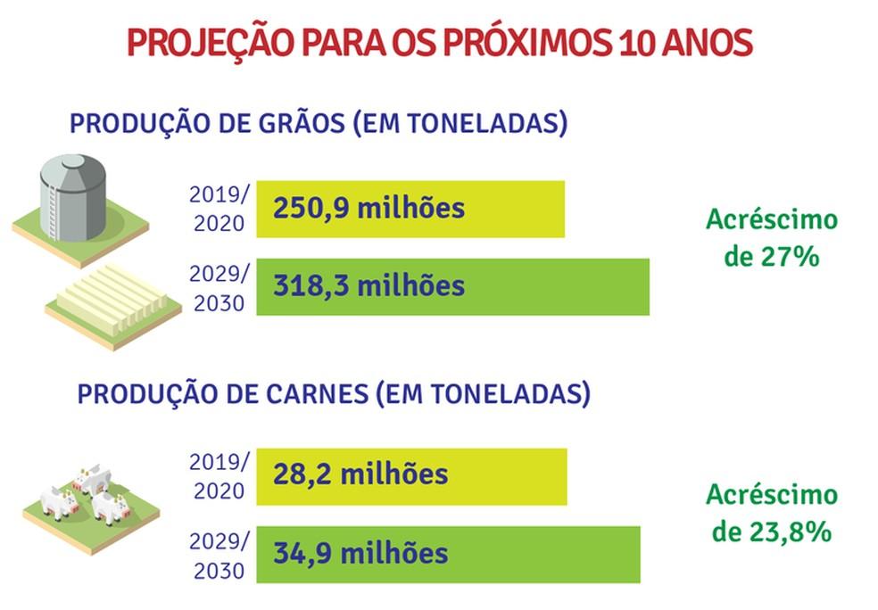 Projeção do governo federal para a produção agropecuária na próxima década — Foto: Ministério da Agricultura/Divulgação