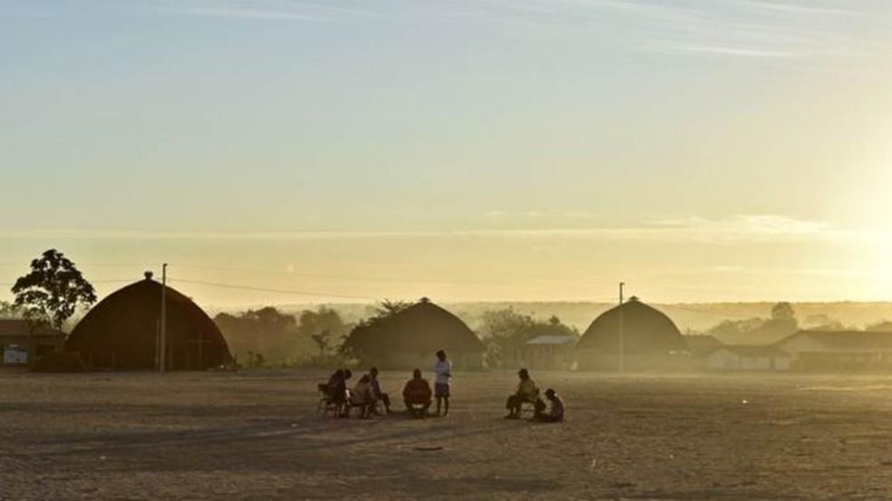 Terra Indígena Marãiwatsédé, do povo xavante, em Mato Grosso, enfrenta crescimento de casos do novo coronavírus — Foto: BBC/ ADRIANO GAMBARINI/OPAN