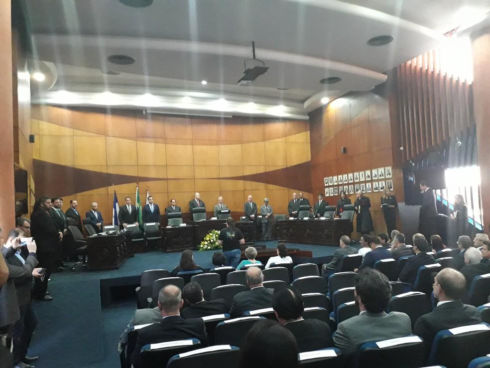 Evento de diplomação aconteceu no pleno do TRE-ES — Foto: André Rodrigues / G1ES