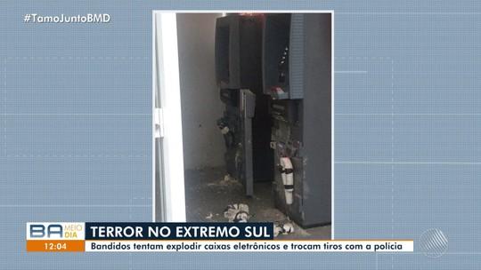 Grupo armado arromba banco na Bahia e é surpreendido por policiais momentos antes de explodir caixas eletrônicos