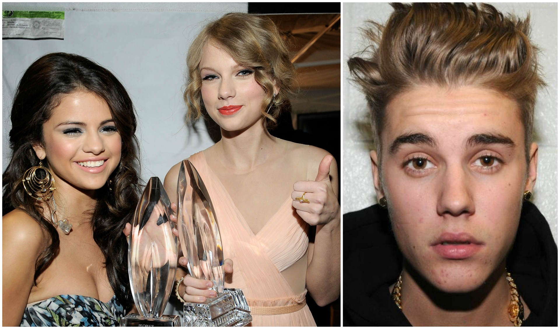 Selena Gomez (á esq.) com Taylor Swift, e Justin Bieber. (Foto: Getty Images)