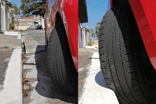 Qual dos jeitos é o correto de parar o carro? Ou nenhum dos dois é certo? (Foto: Renan Sousa)