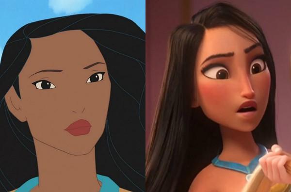 Pocahontas em Pocahontas II e em WiFi Ralph: Quebrando a Internet (Foto: Divulgação/Reprodução)