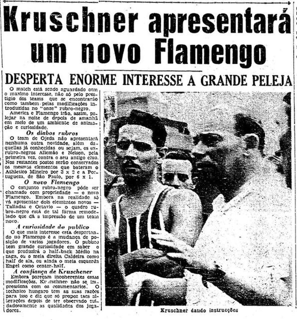 """Jornal falava em """"novo Flamengo"""" com as inovações de Kruschner — Foto: Reprodução / Jornal O Globo"""