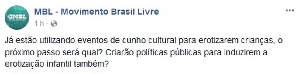 Movimento Brasil Livre (MBL) reage intensamente nas redes sociais contra performance realizada no Museu de Arte Moderna (MAM) (Foto: Reprodução/Facebook)