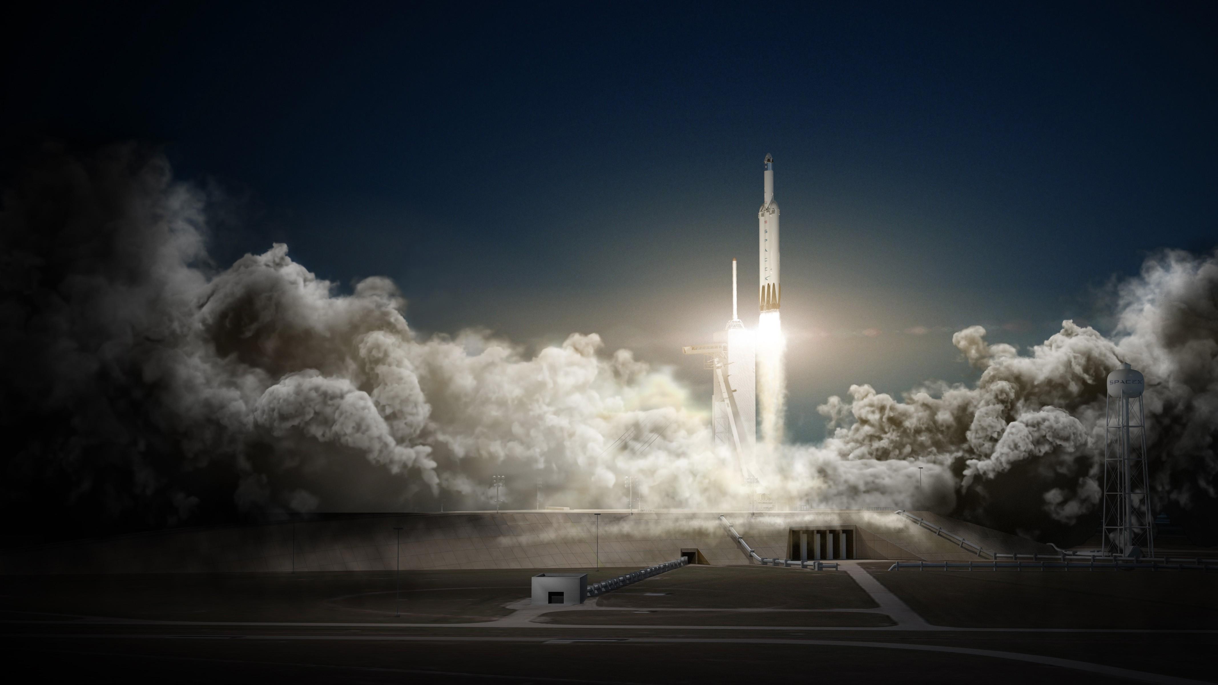 Arte recria o lançamento da Falcon Heavy (Foto: Divulgação)