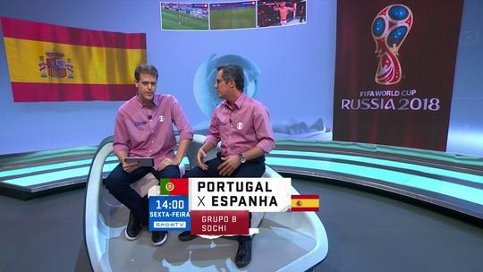 Comentaristas analisam confronto entre Portugal e Espanha na primeira fase da Copa
