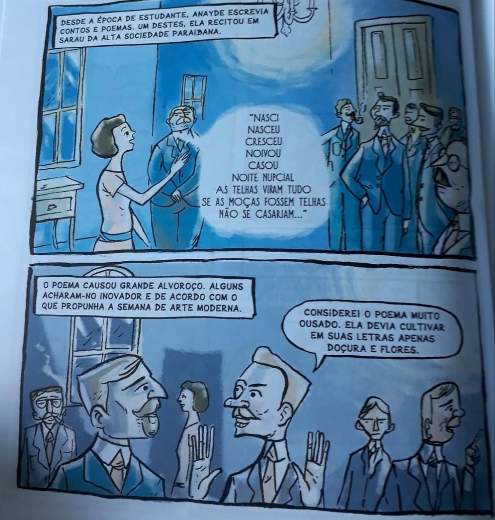 Página do livro Anayde Beiriz, em quadrinhos, por Sabrina Rafael Bezerra — Foto: Sabrina Rafael/Arquivo Pessoal
