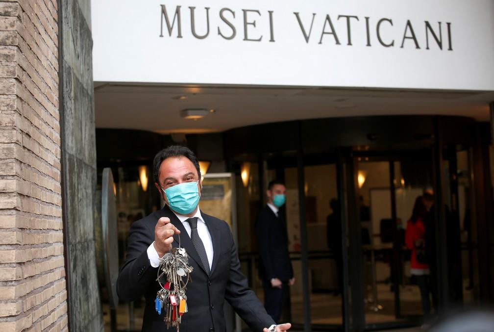 Entrada dos Museus do Vaticano em 3 de maio de 2021, data da reabertura após 7 semanas fechados pela pandemia — Foto: Remo Casilli/Reuters