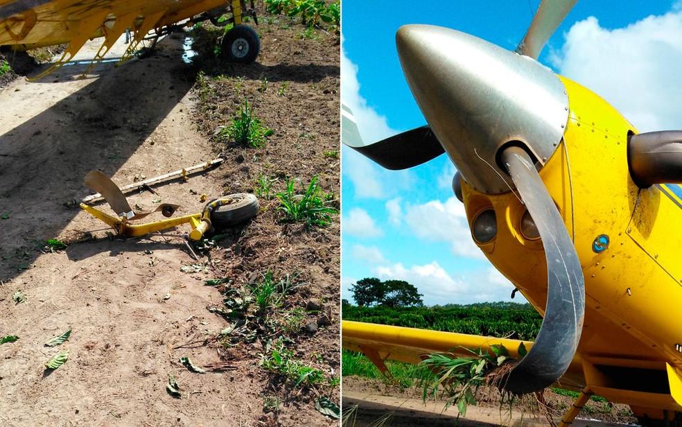 Avião também perdeu roda do trem de pouso após a situação (Foto: Site Bahia Dia a Dia)