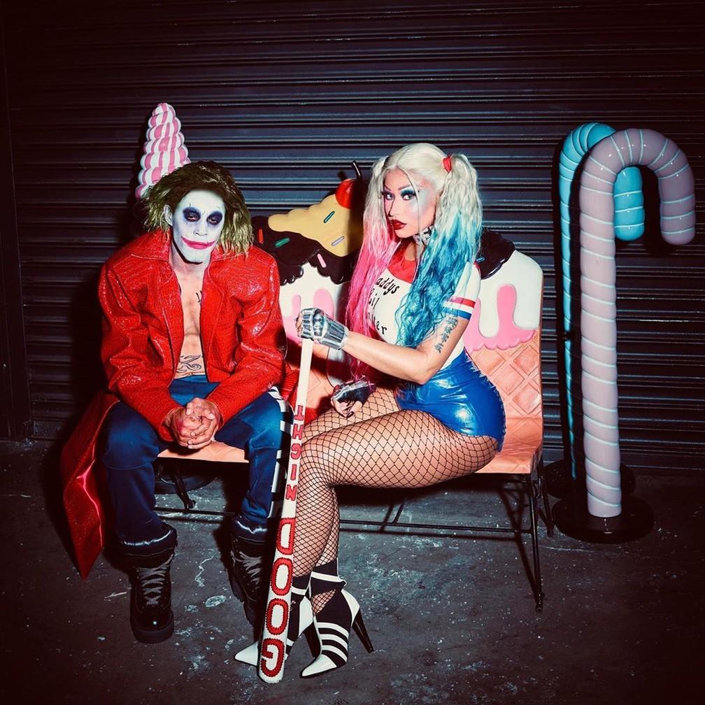 Nicki Minaj e Kenneth Petty se vestiram de Coringa e Arlequina para uma festa de Halloween — Foto: Reprodução/Instagram/NickiMinaj