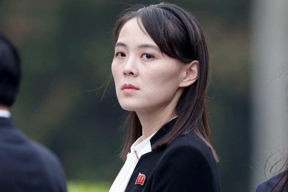 Kim Yo-jong, irmã de Kim Jong-un e cotada para assumir o poder na Coreia do Norte caso o ditador morra ou renuncie, em foto de março de 2019 — Foto: Jorge Silva/Pool/Arquivo/Reuters