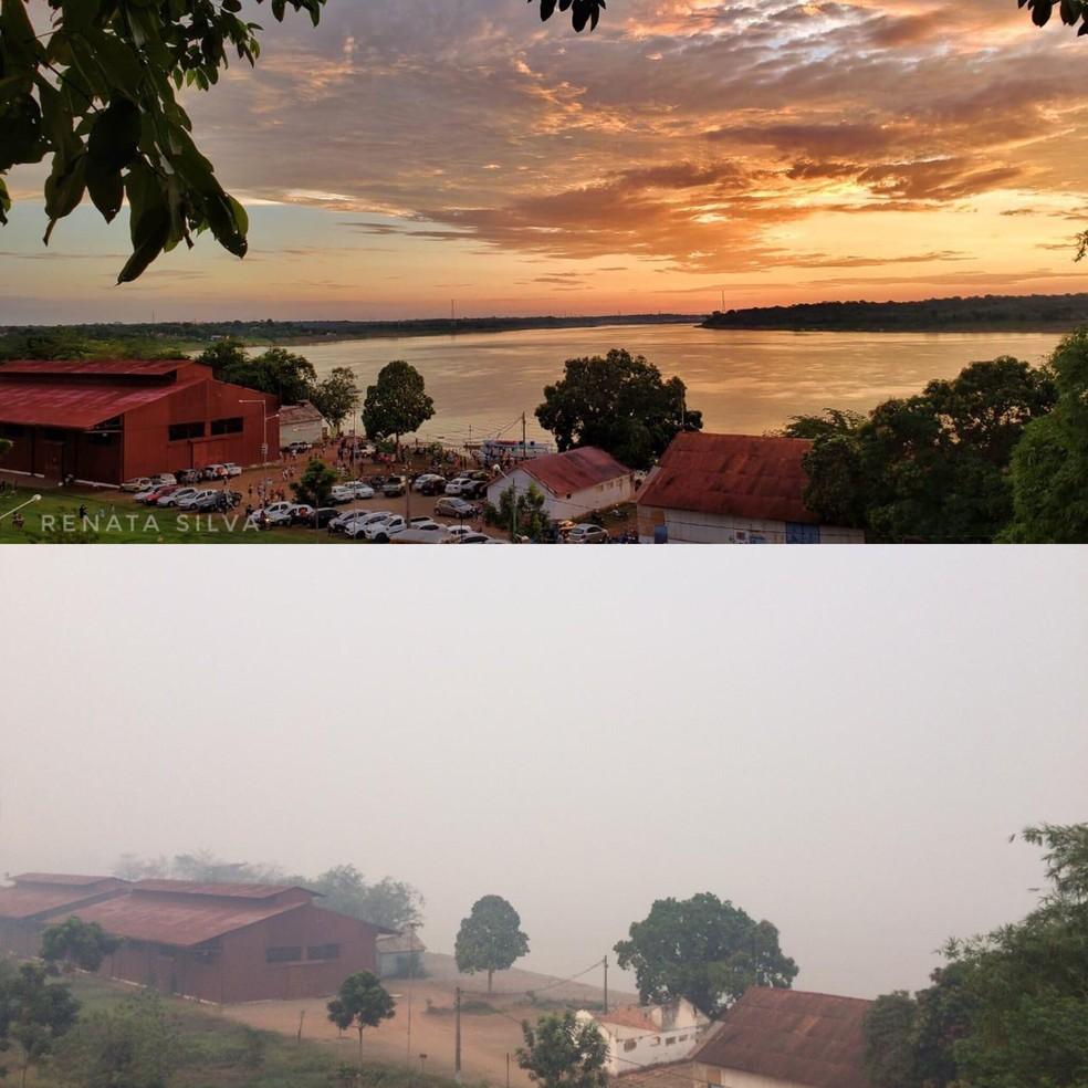 Foto do Complexo da Estrada de Ferro, em antes e depois — Foto: Twitter/Reprodução